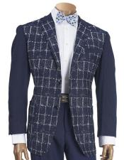 Mens Knit Sleeve Navy Chenille Blazer with elbow patch