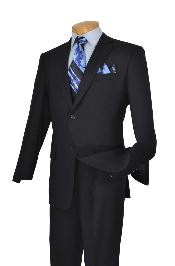 Poly-rayon Executive Pure Solid Dark Navy Suit Notch Collar Pleated Pants
