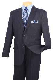 Wool Feel Stripe ~ Pinstripe Dark Navy Blue Suit