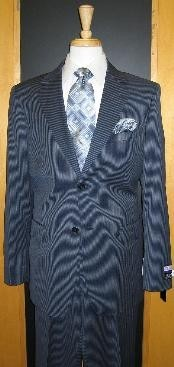 2 Button Dark Navy Pinstripe Flat Front Wool Suit