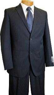 Mens 2 Button Slim Fit Dark Navy Pinstripe affordable Cheap Priced Business