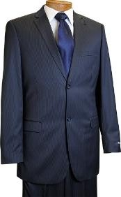 2 Button Slim Cut Dark Navy Pinstripe Conservative Pattern Suit Navy