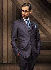 Slim 2 Button Navy Vested Suit Comes With Free Shirt & Tie