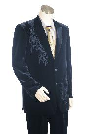 Stylish 2 Button Dark Navy Velvet Velour Suit Pleated Pants Peak