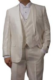 3 Piece Notch Lapel Shiny Off White Sharkskin Dress Slim Fit