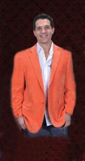 Mens Cotton/Rayon 2 Button Orange Sport Coat Notch Lapel Side Vents