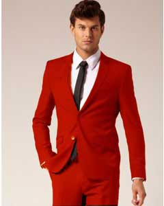 Mens Colorful 2 Button Style Suit Pants Red ( Regular