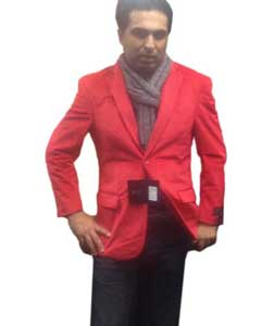 2 button Notch Collar Single-Breasted Fully Lined Velvet ~ Velour Blazer Red