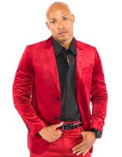 Red Velvet Suit & Cheap Blazer Jacket For Men Sport Coat + Pants