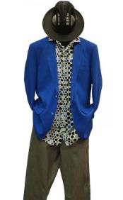 SKU#AP185 Alberto Nardoni Brand Mens 2 Buttons Linen Notch Lapel Cobalt Royal Blue Blazer