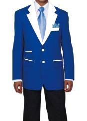 Mens 2 Buttons Royal Blue and White Lapel Tuxedo Dress Suits for