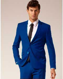 Mens 2 Button Style Jacket Suit &amp Plus Pants Royal Blue