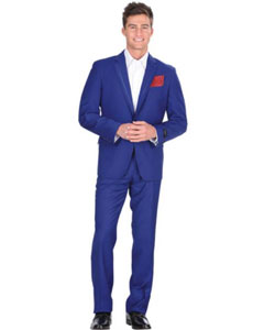 2 Button Royal Blue Tuxedo Suit Jacket & Pants With Trim