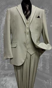 Button Vested 3 Piece Tan Beige Pinstripe Suit notch lapel