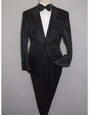 Shiny 2 Buttons Notch Collar Floral Paisley Formal Black Blazer