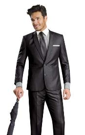 Button Shiny Flashy Metalic Silk Touch Sharkskin Black Suit