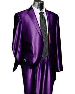Shiny 2 Button Purple TNT Sharkskin Mens Suit