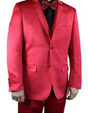 2 Buttons Notch Lapel Flat Front Pants Shiny Flashy red Mens