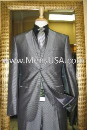 Button 3 Piece Silver Shiny Slim Fit Suit