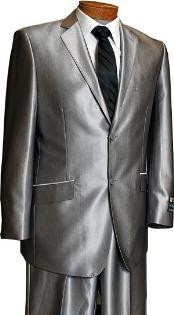 Sateen Metallic Shiny Mens 2 Button Silver Slim Fit Shark Skin Suit