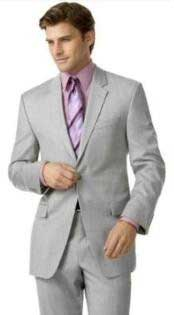Groomsmen Suits Silver Gray (Very Very Light Gray(Ash)) 2 Button Double Vent