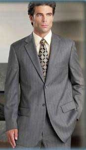 Gray Pinstripe (Very Light Gray (Ash)) 2 Button Double Vent Mens Cheap Business Suits Clearance Sale