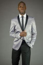 Mens  Silver Grey ~ Gray  Slim Fit Black Lapel Two