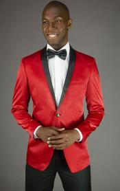 2 Button Red Velvet Slim Fit Tuxedo Jacket / Cheap Priced