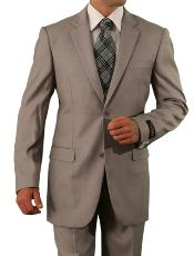 Mens 2 Button Tan ~ Beige ~ Sand Slim Fit Suit