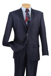 Mens Midnight Dark Navy Blue Slim Fit Side vents Suits