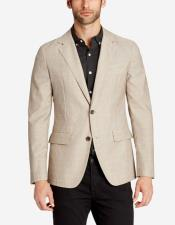 Mens Two Buttons Single Breasted Lightweight Wool Slim Fit Stone Blazer