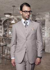 3PC 2 Button Solid Tan ~ Beige Suit Super 150s Pick