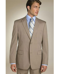 ANA_M_202_34 Mens Classic Business Tan ~ Beige~Sand~Mocca 2 Button Business ~ Wedding 2 piece Side Vented Suit