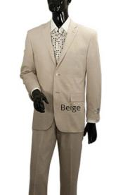 Light Tan Sand Stone Beige 2 Button Linen Summer Suit Jacket + Pants