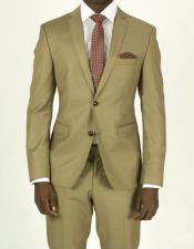 Pick Stitched 2 Button Slim Fit Skinny Tan Suit