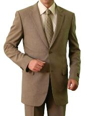 2 Button Front Closure Notch Lapel Suit Tan ~ Beige