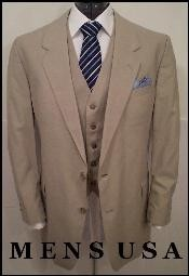 Quality 2 Button Solid Tan ~ Beige Vested Suits 100% Wool