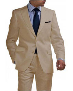 Mens Tan 2 Button Tapered Cut Half Lined Suit