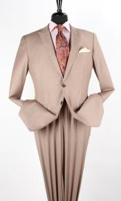Mens 2 Piece Executive Discount three piece suit - Peak Lapel Taupe
