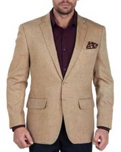 Solid 2 Button 100% Wool Blazer With brass buttons Mens Jacket Sport Coat Taupe Herringbone Tweed