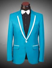 2 Buttons Turquoise ~ Aqua Blue & White Trim Lapel Tuxedo Suit / Blazer / Jacket