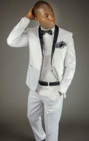 Mens 2 Button White Shawl Lapel Slim Fit Fashion Tuxedo For Men
