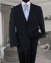 Navy With White Pinstripe Conversative 2 Button Flat Front Mens Business ~ Wedding 2 piece Side Vented