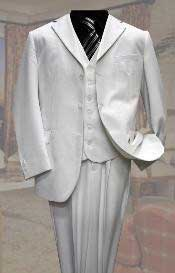 3PC Available in 2 button White Tone On Tone Stripe ~ Pinstripe Mens Suit