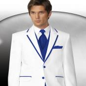 2 Button Style White Tuxedo With Royal Blue Trim Collar + Matching Vest & Tie & Pants