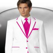 Mens 2 Button Style White Tuxedo With Pink Trim Collar + Matching Vest & Tie & Pants