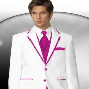 2 Button Style White Tuxedo With Hot Pink ~ Rose ~Fuchsia ~ fuschia~ hot Pink Trim Collar