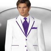 2 Button Style White Tuxedo With Purple Trim Collar + Matching Vest & Tie & Pants 7