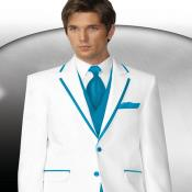 2 Button Style White Tuxedo With Turquoise ~ Aqua Trim Collar + Matching Vest & Tie &