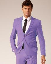 2 Button Style Wool & Cotton Suit Flat Front Pants Lavender